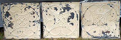 "Vtg 1800's ARCHITECTURAL TINS CEILING TILES 24"" x 24"" LOT 3 Shabby Antique Craft"