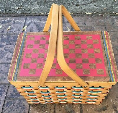 """Vintage Wooden Woven Picnic Basket-Cloth Lined Yellow White Red 17"""""""