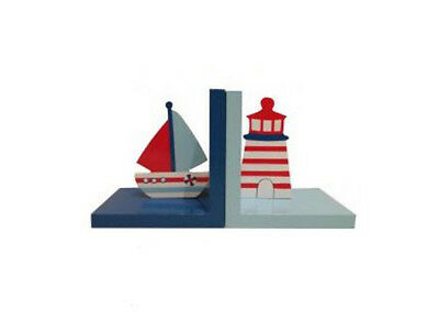 Book Ends - Nautical Sail Boat with Lighthouse Bookends Kids Room Nursery Decor