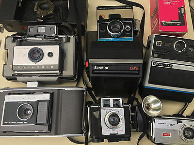Lot of Vintage Kodak and Polaroid Cameras