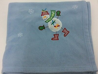 Pottery Barn Kids Blue Snowman Fleece Baby Blanket Winter 30x40
