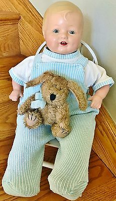 Vintage Horsman 1930s Unmarked Baby Dimples Boy LAL Doll Composition Tin Eye 19""