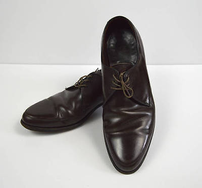 Vintage 1960s Brown 3 Eye Rounded Point Shoes by Florsheim Size 8/8.5