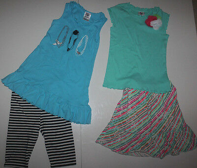 Lot 2pc Boutique GIRL FRIENDS By ANITA G Shirt Top Capris OUTFIT Skirt Size 7