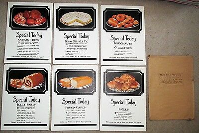 Set of SIX Fleischmann's Yeast 1920's Bakery Signs w Cakes Pies Doughnuts Rolls