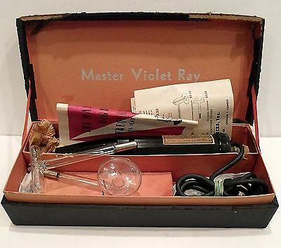 "ANTIQUE, WORKING ""MASTER VIOLET RAY"" WITH ORIG. BROCHURE and SALES PRICE LIST"