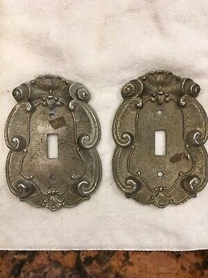 Vintage Vernon Brass Ornate Scroll Single Light Switch Covers Lot of 2