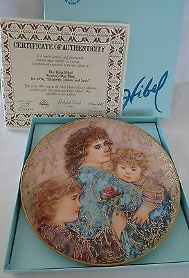 Knowles EDNA HIBEL Mother's Day Plate 1990 ELIZABETH  JORDAN AND JANIE