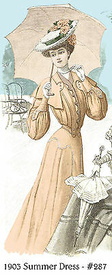 1903 Edwardian Summer Dress pattern - sized for you from antique original. #287