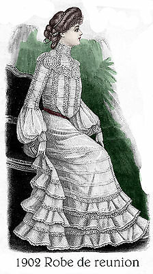 1902 Edwardian Pattern for Dreamy Skirt & blouse - Sized for you
