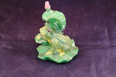 "Nice 3"" Garden or Home Decor Resin Frog in Lilly Pad"
