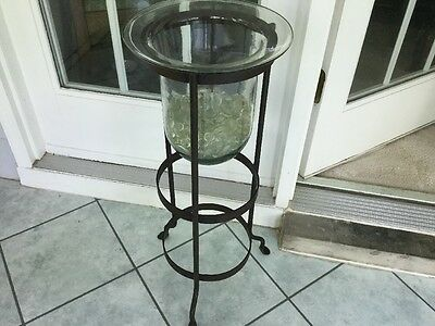 Partylite  3 Wick Candle Holder Stand With Glass Hurricane