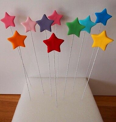 Edible Stars on Wires CAKE TOPPERS Birthday Cupcake Sugar Icing Decorations