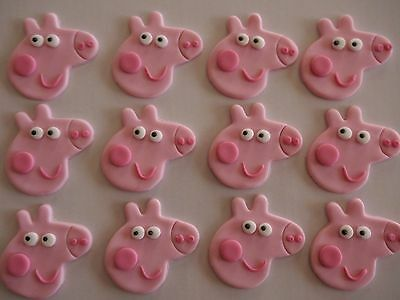 12 x EDIBLE PEPPA PIG FACES Cupcake FONDANT Toppers BIRTHDAY CAKE DECORATIONS