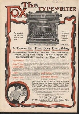 1905 Fox Typewriter Machine Grand Rapids Keyboard Paper9641