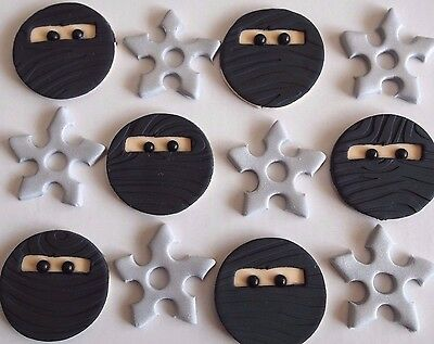 12 X NINJA & THROWING STAR CUPCAKE TOPPERS Edible Birthday Cake Decorations