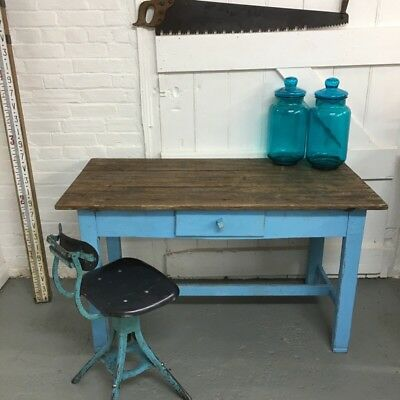Industrial Vintage Antique Farmhouse Green Kitchen Dining Side Wooden Table