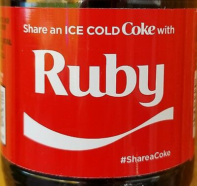 Brand New 2017 Share A Coke With Ruby 20 Oz Coca Cola Collectible Bottle