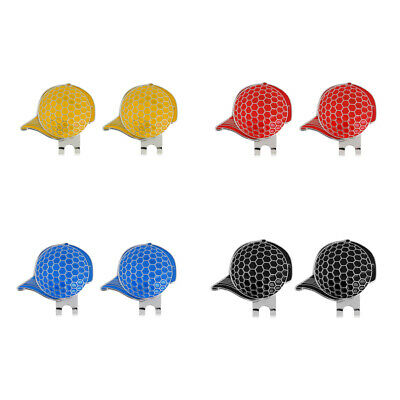 2 x Stainless Steel Cap Design Golf Hat Clip Magnetic with Ball Marker Set