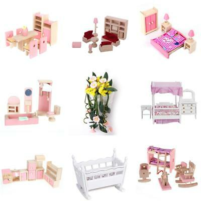 Kids Miniature Dollhouse Furniture Wooden Kids Room Kitchen Bedroom Bathroom Set