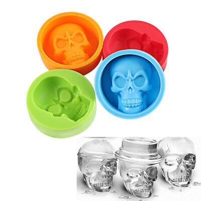 3D Skull Silicone Cake Pudding Chocolate Ice Cube Muffin Cup Mould Baking Tools