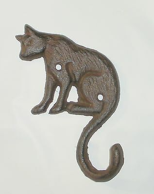 NEW~Cast Iron Sitting CAT Wall Hook Nice Detail Pet Lover Gift Decor