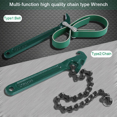 8 Inch Water/Oil Filter Wrench Heay Duty Adjustable Car Van Chain Remove Tool ES