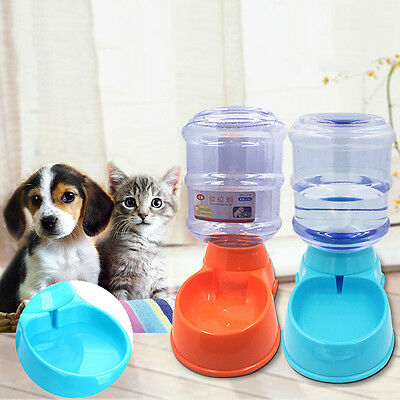 Large Automatic Pet Food Drink Dispenser Dog Cat Feeder Water Bowl Dish 3.5L