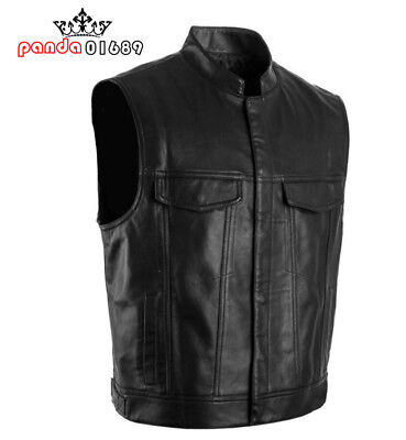 New Motorcycle Biker Style Leather Waistcoat Black Leather Vest