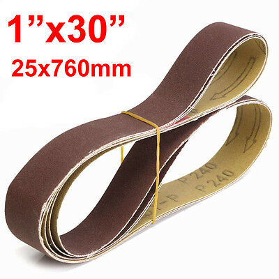 "5PC 1x30"" Grit 40 60 80 120 # Sanding Belt 25x100mm, Belt Disc Sander Grinder"