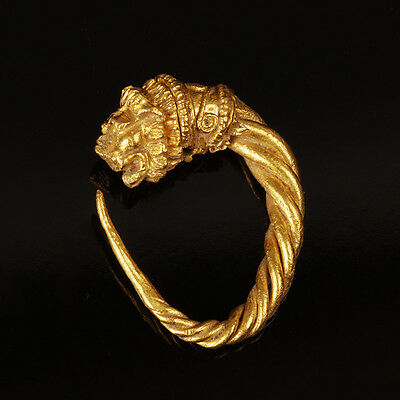Greek Gold Lion Head Earring