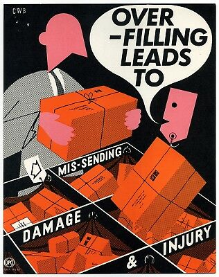 """1960's GPO small Internal Information poster """"OVER-FILLING LEADS TO…"""" - CWB"""