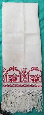Antique Linen Damask Fringed Show Towel Turkey Red Bands SWANS Never Used