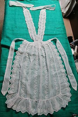 Antique Linen Hostess Apron Embroidered Lace Panels & Ruffles