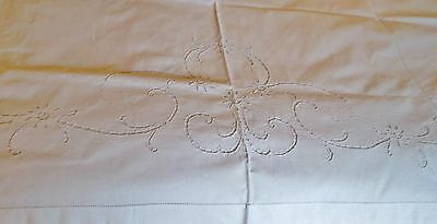 Antique Italian Sheet Ornate Floral Cutwork with Drawnwork Accents Beautiful!