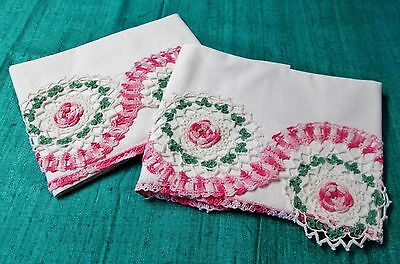 Antique Pillow Case Pair Ornate Pink Green & White Hand Crocheted Decoration