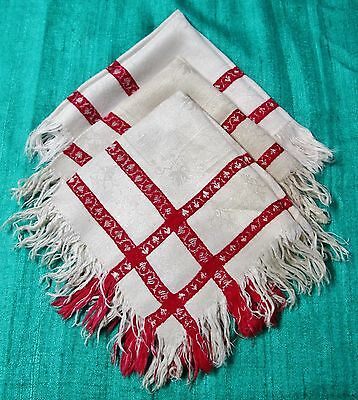 Antique Turkey Red & Off White Damask 3 Fringed Napkins Tiny Hearts, Florals