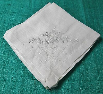 Antique Linen Lawn 4 Napkins Floral Embroidery Net Lace Insets Hemstitched