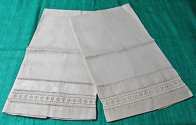 Pair of Antique Nubby Linen Towels Hand Crocheted Inserts Damask Bands Hemstitch