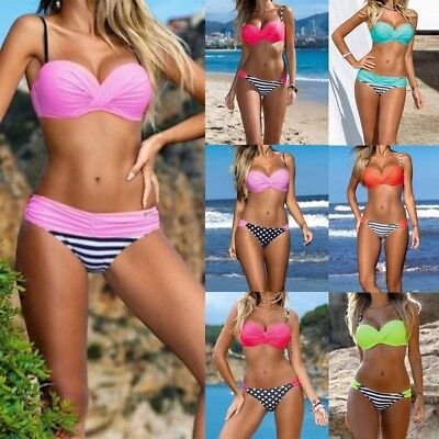 AU Women Bikini Set Push Up Bra Swimwear Bandage Beachwear Swimsuit Bathing