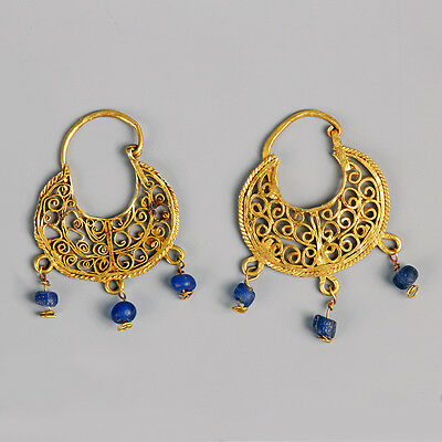 Byzantine Gold Earrings with Glass Drops