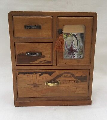 Vintage Japanese Marquetry Miniature Cabinet Box with Mirror Trinket Box & Photo