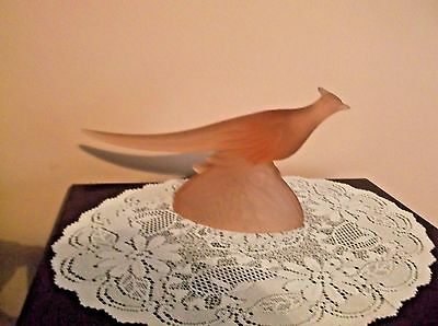 """Vintage KR HALEY Frost Pink Glass Ring Neck Pheasant Figurine 11-1/2"""" No issues."""