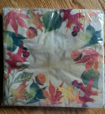 """18 ct Paper Party Lunch Napkins 13"""" ~ Fall Leaves and Acorns"""