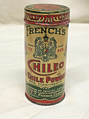 Round French's CHILEO Chile Powder Rochester, N.Y. New York Spice Tin - See Pics
