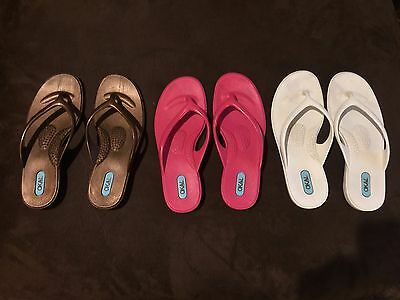 Three pair of OKA-B FlipFlop Shoes Girls 2 1/2-3 1/2 or Womans 4-5