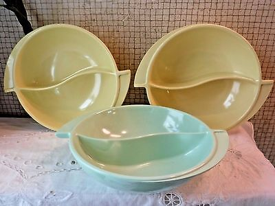 VINTAGE Boonton Melmac Divided Serving Dish TRIO- 2 Yellow + 1 Mint VERY CLEAN!