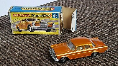 VINTAGE MATCHBOX LESNEY SUPERFAST No 46 MERCEDES 300 SE IN ORIGINAL BOX BRONZE
