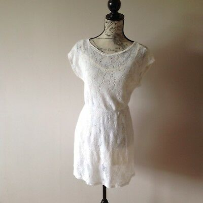 Chelsea Girl Size 10, White Cotton, Lace Look, Dress.