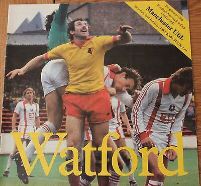 Watford FC v Manchester United Autographed Programme FA Cup January 1982